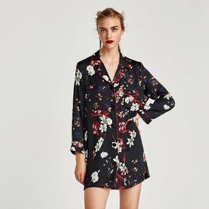 NWOT Zara Silk Collared Floral Mini Dress